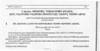 Įrašymas į LR teismo ekspertų sąrašą